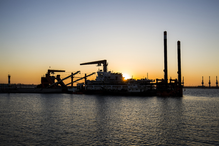Container terminal in the evening