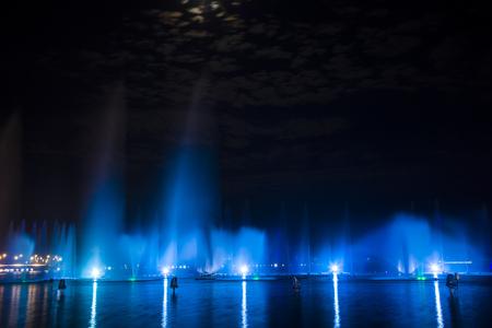 Music fountain at night Stock Photo