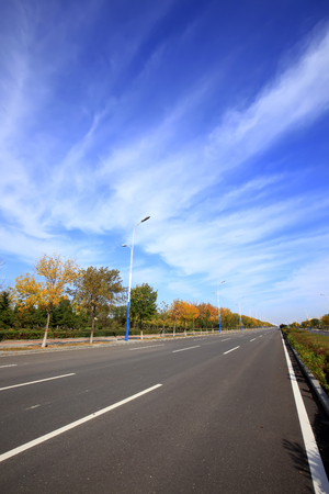 Highway landscape view during autumn