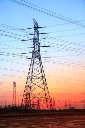 isolator: The silhouette of high voltage towers