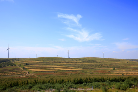 windpower: Autumn terraces and wind turbines