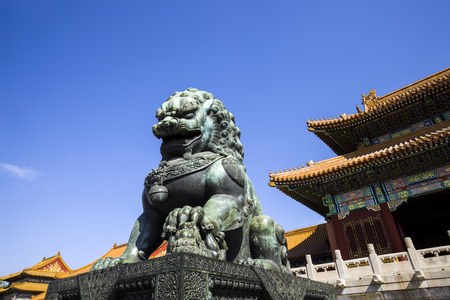 Copper lion of the imperial palace in Beijing, China