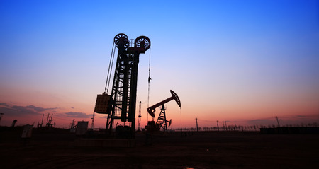 The silhouette of tower type pumping unit Stock Photo