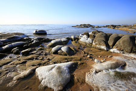 shorelines: Winter seaside scenery Stock Photo