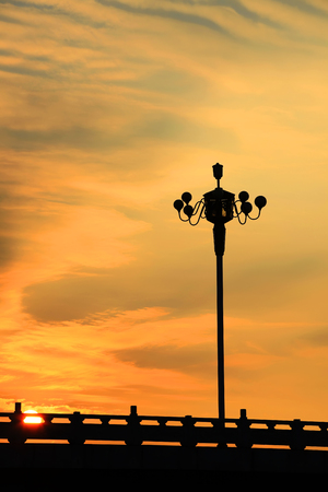 View of a street lamp post during the evening