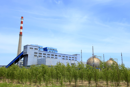 Landscape view of a chemical plant under the blue sky Editorial