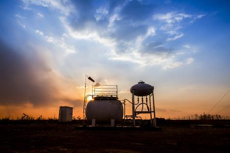 Oil fields in the evening