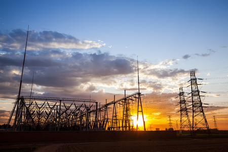 In the evening, the outline of substation