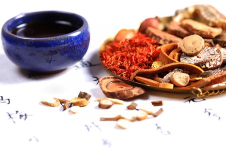 Vista de cerca de medicina herbal China