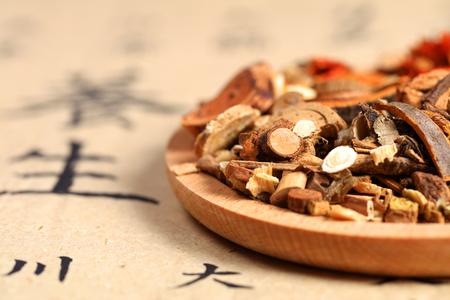 Chinese herbal medicine close up view Stock fotó - 90756518