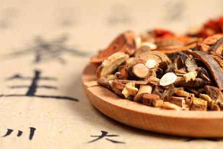 Vista di fine cinese medicina a base di erbe