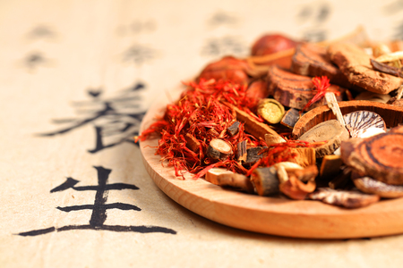 Chinese herbal medicine close up view
