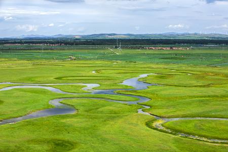 The river on the grassland Foto de archivo