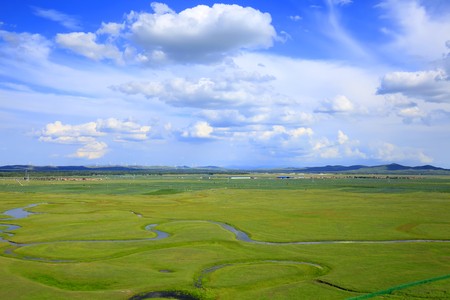 The river on the grassland Stock Photo
