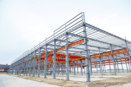 In the construction site, steel structure is under construction