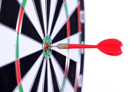 darts hit the center Stock Photo