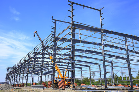 Construction site, steel frame structure is under construction Stock Photo