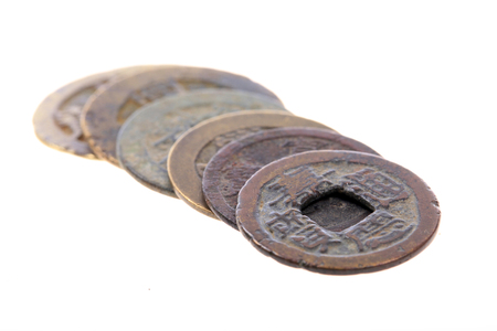 Chinese ancient copper coins Stock Photo