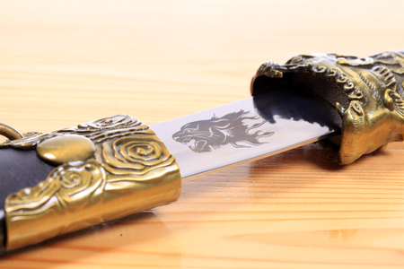 Mongolian knife, close-up