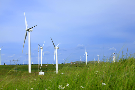 Wind turbines on the grassland