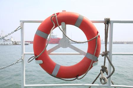 A lifebuoy on a ship.