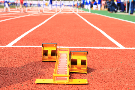 Starting blocks on the playground of the runway Banque d'images