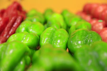 Green peppers on the market Standard-Bild - 114464692