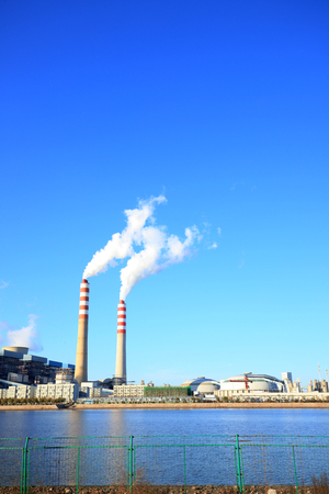 power plants under the blue sky