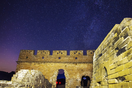 The Great Wall is under the stars, the beautiful Milky Way is in the sky