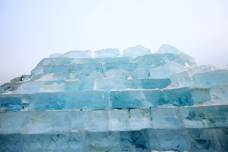 Ice cubes piled up, close-up Stock Photo