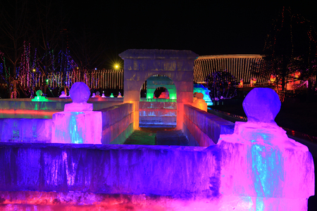 The ice sculptures at night Imagens
