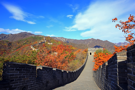 The Great Wall of China is in autumn Imagens