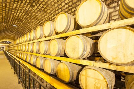 Wine barrels stacked in the cellar of the winery Reklamní fotografie