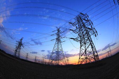 The silhouette of pylon, the pylon in the evening