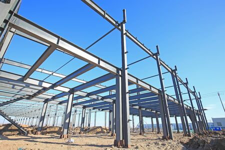 In the construction site, steel structure is under construction 写真素材 - 129444727