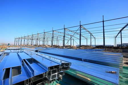 In the construction site, steel structure is under construction 写真素材 - 129444734