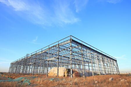 In the construction site, steel structure is under construction 写真素材 - 129444733