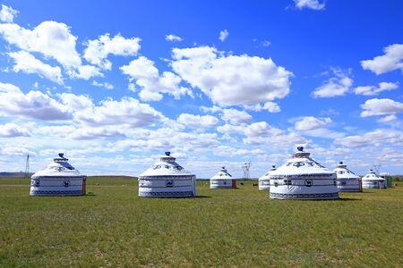 Mongolian yurt on the grassland Stock fotó
