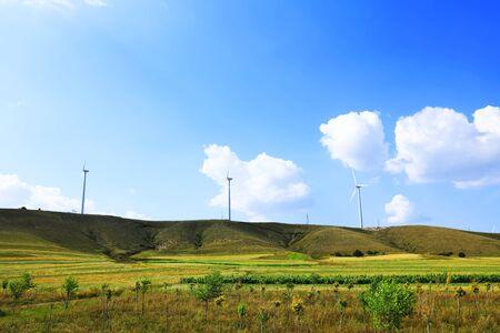 Wind turbines on the grassland