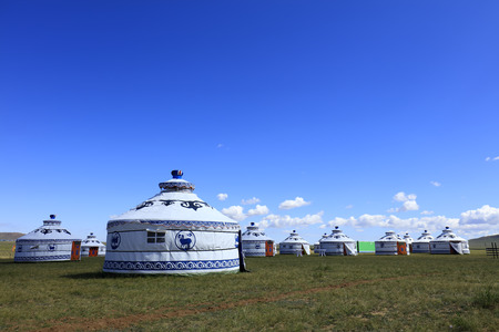 Mongolian yurt on the grassland Editorial