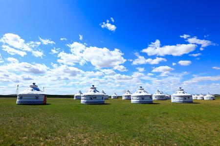 Mongolian yurt on the grassland Redakční