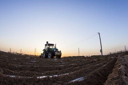 In the spring, The tractor in farmland farming Stok Fotoğraf