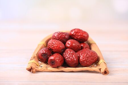 Red jujube, fresh red dates are on the table