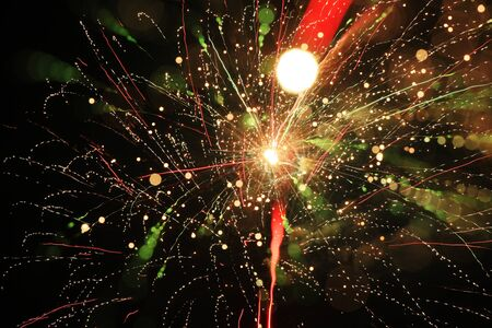 Colorful firework with bokeh background