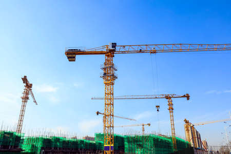 The construction site, the construction worker's tower crane, Residential buildings are under construction