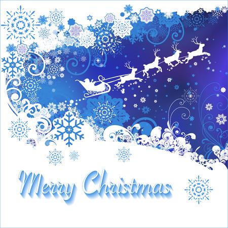 Santa Claus va en trineo. Buena idea para la Feliz Navidad y tarjeta de felicitación de año nuevo. Ilustración de vector