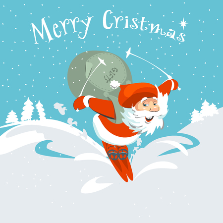 bagful: Santa brings a deer with bagful of gifts. Hand drawing card