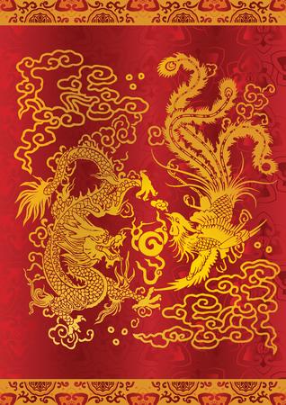 De draak en de feniks in de klassieke Chinese kunst en literatuur zijn als metaforen voor mensen van hoge deugd en zeldzame talent of, in bepaalde combinaties, voor echtelijke harmonie of gelukkig huwelijk. Vector Illustratie