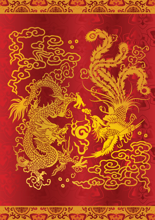 china art: The dragon and the phoenix in classical chinese art and literature are as metaphors for people of high virtue and rare talent or, in certain combinations, for matrimonial harmony or happy marriage. Illustration