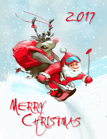 Greeting Merry Christmas card. Funny Santa Claus goes down on skis with polar deer on back. Stock Photo